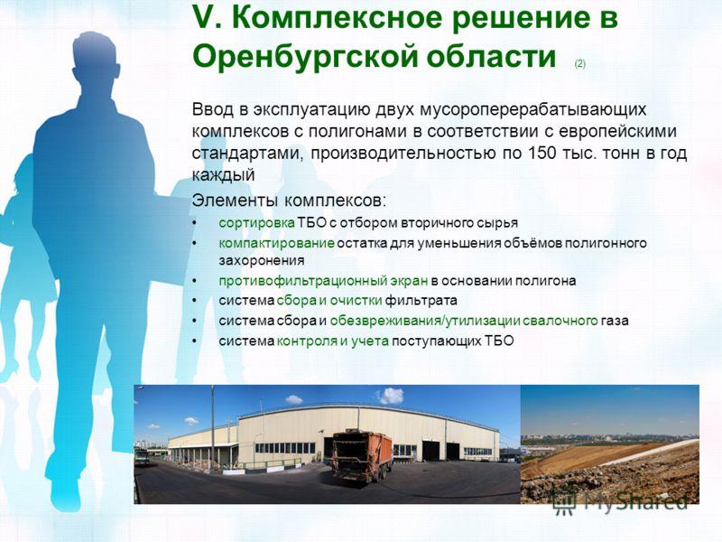 V. Комплексное решение в Оренбургской области (2) Ввод в эксплуатацию двух мусороперерабатывающих комплексов с полигонами в соответствии с европейскими стандартами, производительностью по 150 тыс. тонн в год каждый Элементы комплексов: сортировка ТБО