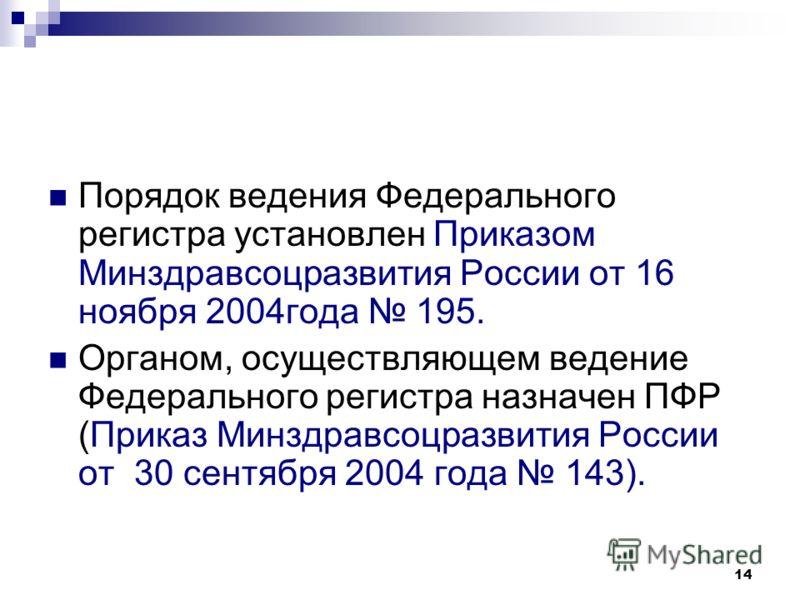 14 Порядок ведения Федерального регистра установлен Приказом Минздравсоцразвития России от 16 ноября 2004года 195. Органом, осуществляющем ведение Федерального регистра назначен ПФР (Приказ Минздравсоцразвития России от 30 сентября 2004 года 143).