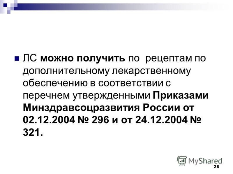 28 ЛС можно получить по рецептам по дополнительному лекарственному обеспечению в соответствии с перечнем утвержденными Приказами Минздравсоцразвития России от 02.12.2004 296 и от 24.12.2004 321.