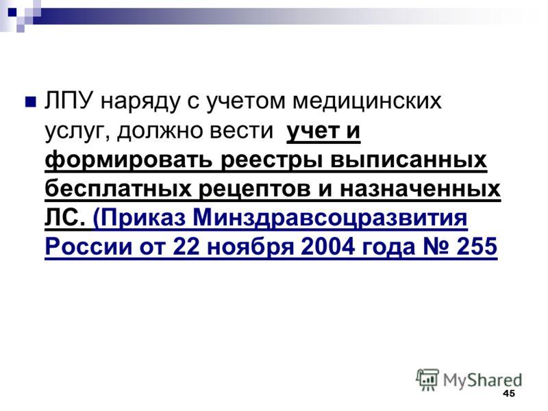 45 ЛПУ наряду с учетом медицинских услуг, должно вести учет и формировать реестры выписанных бесплатных рецептов и назначенных ЛС. (Приказ Минздравсоцразвития России от 22 ноября 2004 года 255