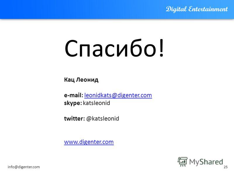 25 Спасибо! Кац Леонид e-mail: leonidkats@digenter.comleonidkats@digenter.com skype: katsleonid twitter: @katsleonid www.digenter.com info@digenter.com
