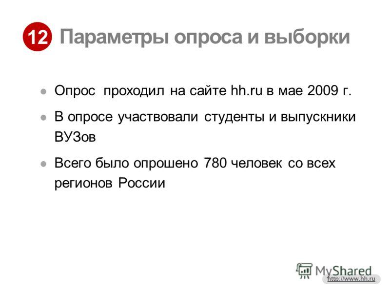12 http://www.hh.ru Параметры опроса и выборки Опрос проходил на сайте hh.ru в мае 2009 г. В опросе участвовали студенты и выпускники ВУЗов Всего было опрошено 780 человек со всех регионов России