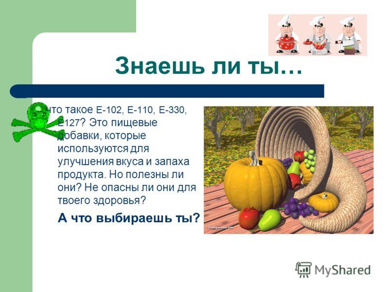 Знаешь ли ты… что такое Е-102, Е-110, Е-330, Е127 ? Это пищевые добавки, которые используются для улучшения вкуса и запаха продукта. Но полезны ли они? Не опасны ли они для твоего здоровья? А что выбираешь ты?