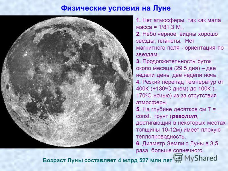 Физические условия на Луне 1. Нет атмосферы, так как мала масса = 1/81,3 М з. 2. Небо черное, видны хорошо звезды, планеты. Нет магнитного поля - ориентация по звездам. 3. Продолжительность суток около месяца (29,5 дня) – две недели день, две недели