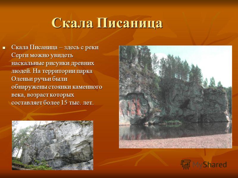 Скала Писаница Скала Писаница – здесь с реки Серги можно увидеть наскальные рисунки древних людей. На территории парка Оленьи ручьи были обнаружены стоянки каменного века, возраст которых составляет более 15 тыс. лет. Скала Писаница – здесь с реки Се