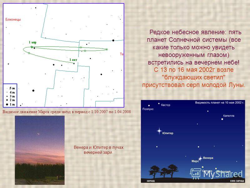 Видимое движение Марса среди звёзд в период с 1.10.2007 по 1.04.2008 Венера и Юпитер в лучах вечерней зари. Редкое небесное явление: пять планет Солнечной системы (все какие только можно увидеть невооруженным глазом) встретились на вечернем небе! С 1