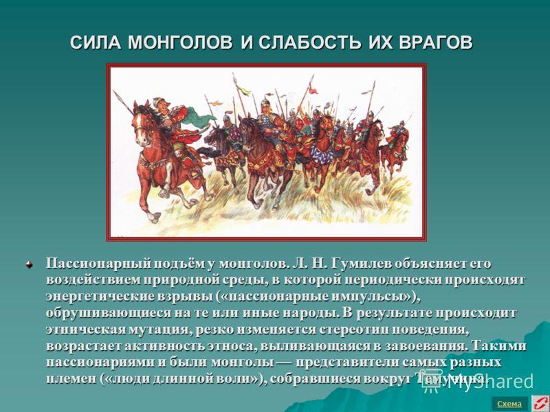 СИЛА МОНГОЛОВ И СЛАБОСТЬ ИХ ВРАГОВ Пассионарный подъём у монголов. Л. Н. Гумилев объясняет его воздействием природной среды, в которой периодически происходят энергетические взрывы («пассионарные импульсы»), обрушивающиеся на те или иные народы. В ре