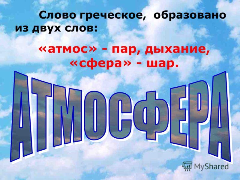 Слово греческое, образовано из двух слов: «атмос» - пар, дыхание, «сфера» - шар.