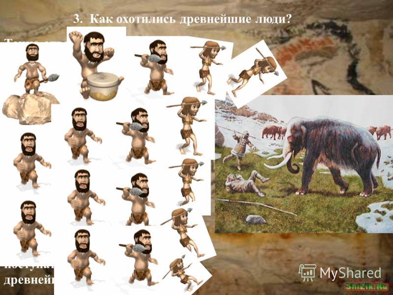 3. Как охотились древнейшие люди? Точно ответить на этот вопрос трудно. Уж очень давно жили на Земле первые люди! В наши дни ведется изучение жизни диких зверей. Наблюдая за тем, как стая мелких хищников пытается отобрать у крупного его добычу, учены