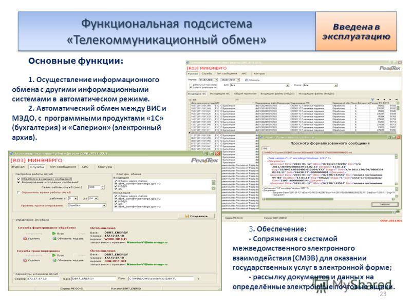 Функциональная подсистема «Телекоммуникационный обмен» Основные функции: 1. Осуществление информационного обмена с другими информационными системами в автоматическом режиме. 2. Автоматический обмен между ВИС и МЭДО, с программными продуктами «1С» (бу