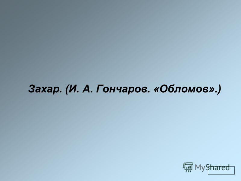 Захар. (И. А. Гончаров. «Обломов».)