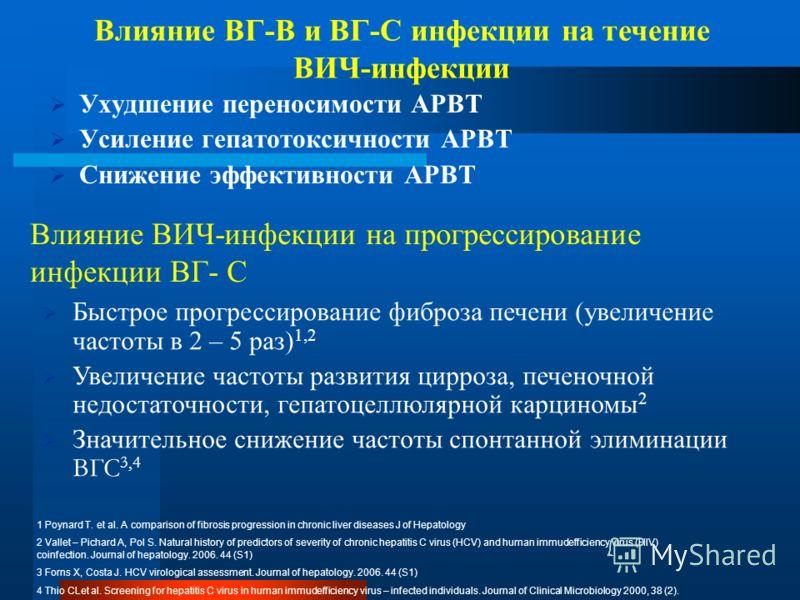 Влияние ВИЧ-инфекции на прогрессирование инфекции ВГ- С Ухудшение переносимости АРВТ Усиление гепатотоксичности АРВТ Снижение эффективности АРВТ Влияние ВГ-В и ВГ-С инфекции на течение ВИЧ-инфекции Быстрое прогрессирование фиброза печени (увеличение