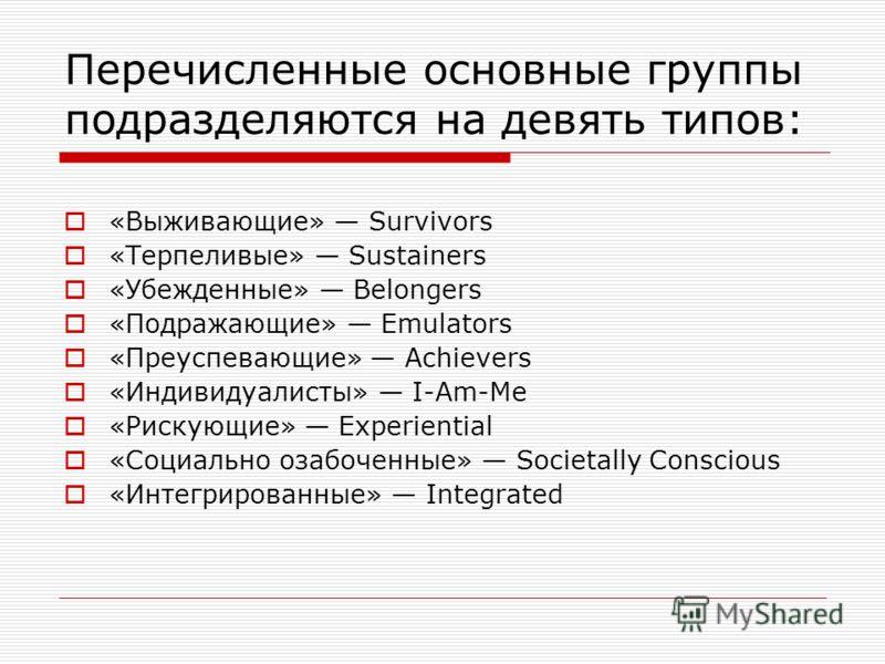 Перечисленные основные группы подразделяются на девять типов: «Выживающие» Survivors «Терпеливые» Sustainers «Убежденные» Belongers «Подражающие» Emulators «Преуспевающие» Achievers «Индивидуалисты» I-Am-Me «Рискующие» Experiential «Социально озабоче