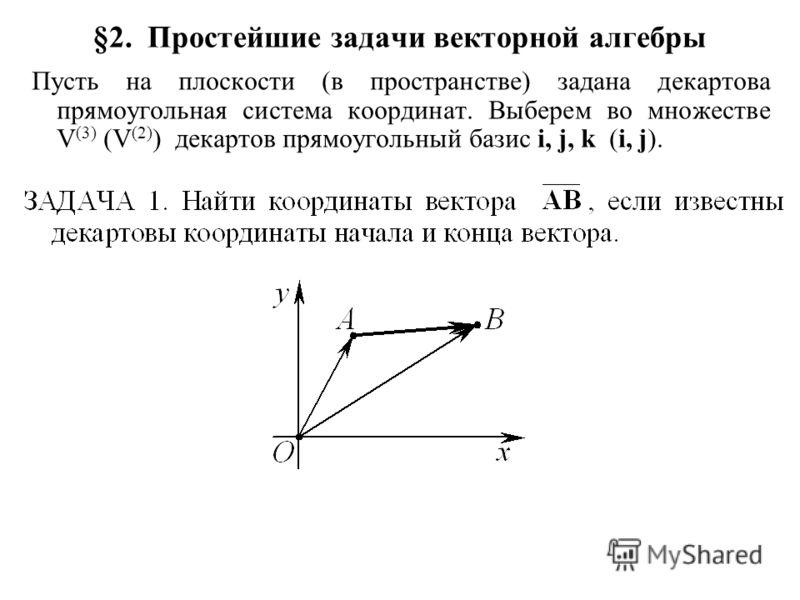 §2. Простейшие задачи векторной алгебры Пусть на плоскости (в пространстве) задана декартова прямоугольная система координат. Выберем во множестве V (3) (V (2) ) декартов прямоугольный базис i, j, k (i, j).