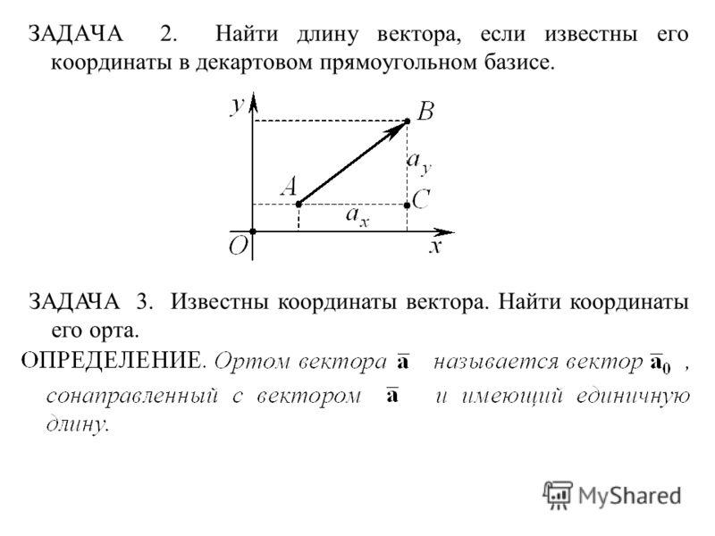ЗАДАЧА 2. Найти длину вектора, если известны его координаты в декартовом прямоугольном базисе. ЗАДАЧА 3. Известны координаты вектора. Найти координаты его орта.