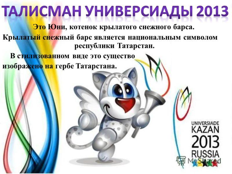 Это Юни, котенок крылатого снежного барса. Крылатый снежный барс является национальным символом республики Татарстан. В стилизованном виде это существо изображено на гербе Татарстана.