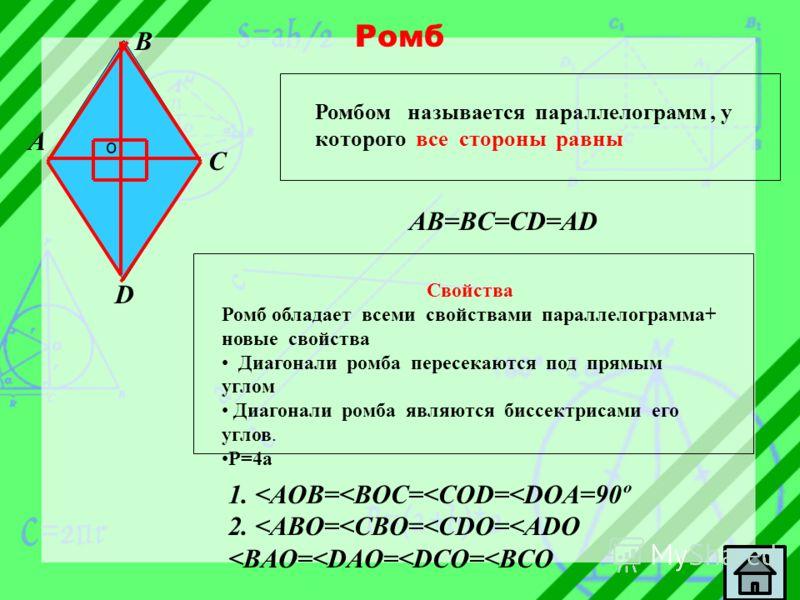 Ромб A B C D Ромбом называется параллелограмм, у которого все стороны равны AB=BC=CD=AD Свойства Ромб обладает всеми свойствами параллелограмма+ новые свойства Диагонали ромба пересекаются под прямым углом Диагонали ромба являются биссектрисами его у
