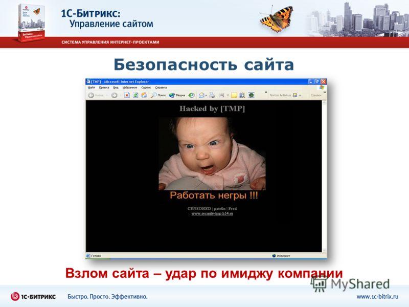 Безопасность сайта Взлом сайта – удар по имиджу компании
