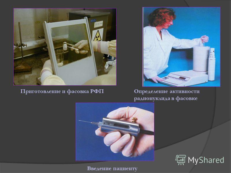 Приготовление и фасовка РФПОпределение активности радионуклида в фасовке Введение пациенту