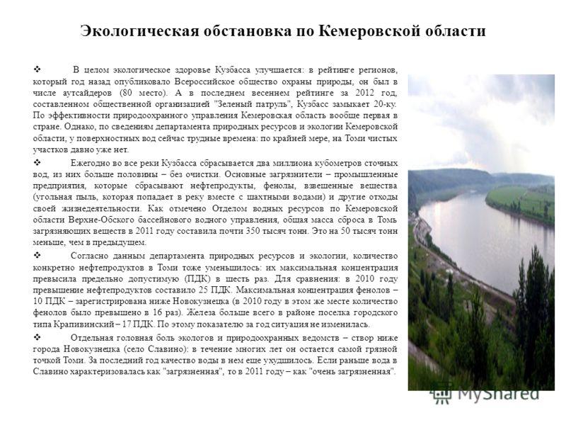 Экологическая обстановка по Кемеровской области В целом экологическое здоровье Кузбасса улучшается: в рейтинге регионов, который год назад опубликовало Всероссийское общество охраны природы, он был в числе аутсайдеров (80 место). А в последнем весенн