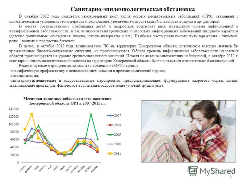 Санитарно-эпидемиологическая обстановка В октябре 2012 года ожидается закономерный рост числа острых респираторных заболеваний (ОРЗ), связанный с климатическими условиями этого периода (похолодание, увеличение относительной влажности воздуха и др. фа
