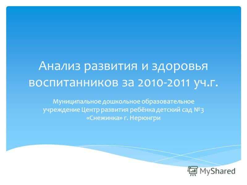 Анализ развития и здоровья воспитанников за 2010-2011 уч.г. Муниципальное дошкольное образовательное учреждение Центр развития ребёнка детский сад 3 «Снежинка» г. Нерюнгри