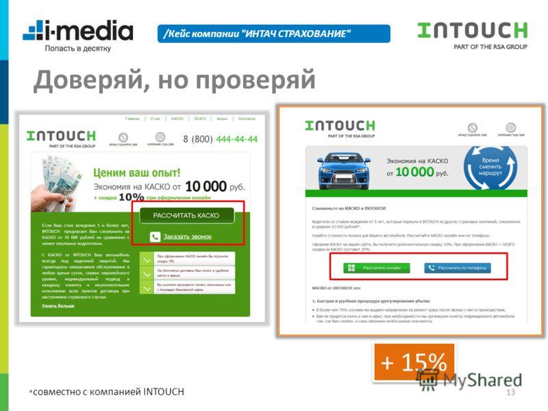 /Кейс компании ИНТАЧ СТРАХОВАНИЕ Доверяй, но проверяй * совместно с компанией INTOUCH + 15% 13
