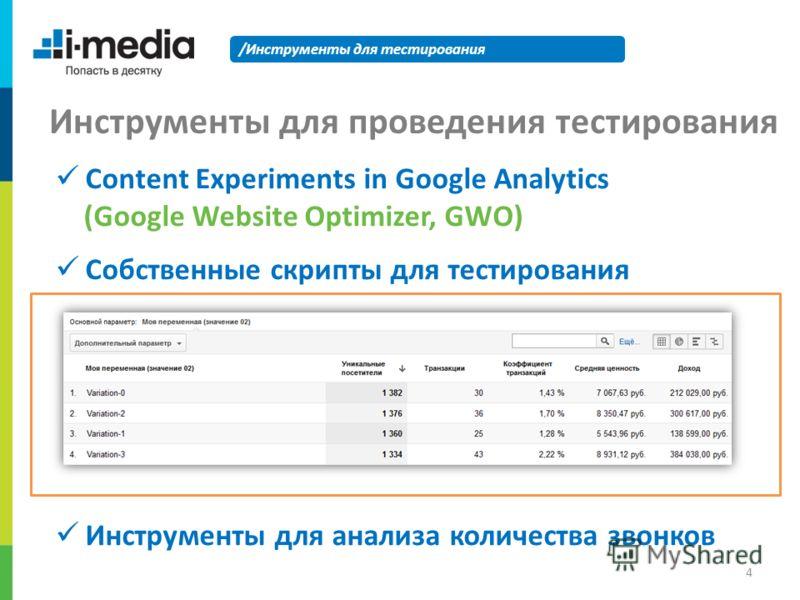 /Инструменты для тестирования Инструменты для проведения тестирования Content Experiments in Google Analytics (Google Website Optimizer, GWO) Собственные скрипты для тестирования Инструменты для анализа количества звонков 4