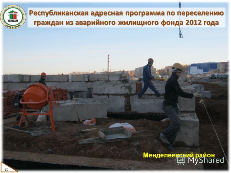 Республиканская адресная программа по переселению граждан из аварийного жилищного фонда 2012 года 30 Менделеевский район