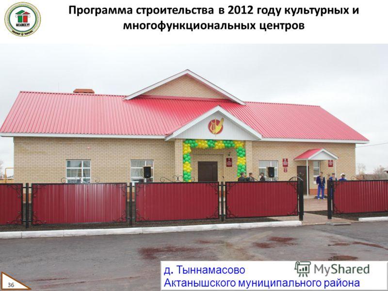 Программа строительства в 2012 году культурных и многофункциональных центров д. Тыннамасово Актанышского муниципального района 36