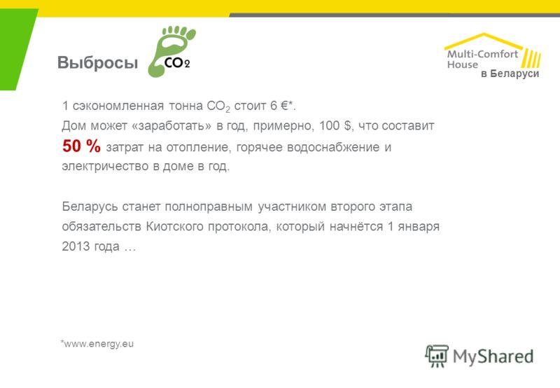в Беларуси *www.energy.eu Выбросы 1 сэкономленная тонна СО 2 стоит 6 *. Дом может «заработать» в год, примерно, 100 $, что составит 50 % затрат на отопление, горячее водоснабжение и электричество в доме в год. Беларусь станет полноправным участником