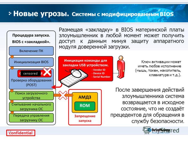 14 Новые угрозы. Системы с модифицированным BIOS Размещая «закладку» в BIOS материнской платы злоумышленник в любой момент может получить доступ к данным минуя защиту аппаратного модуля доверенной загрузки. Ключ активации может иметь любое исполнение