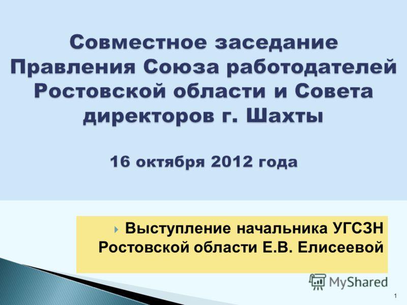 Выступление начальника УГСЗН Ростовской области Е.В. Елисеевой 1