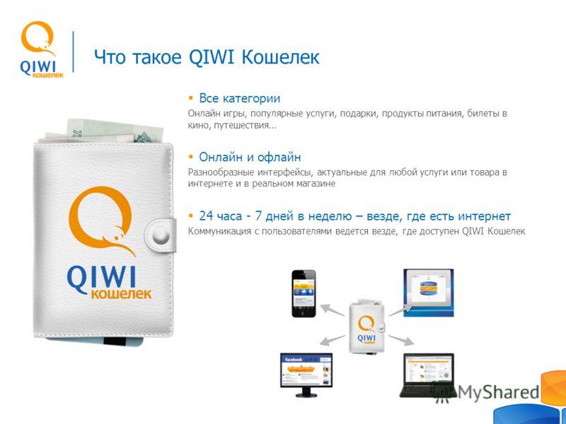 Что такое QIWI Кошелек Все категории Онлайн игры, популярные услуги, подарки, продукты питания, билеты в кино, путешествия… Онлайн и офлайн Разнообразные интерфейсы, актуальные для любой услуги или товара в интернете и в реальном магазине 24 часа - 7