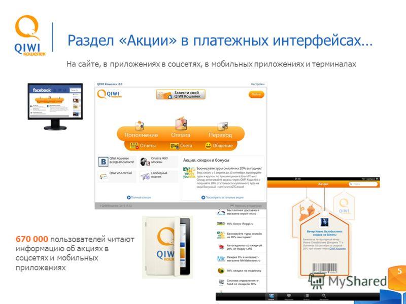 Раздел «Акции» в платежных интерфейсах… 5 670 000 пользователей читают информацию об акциях в соцсетях и мобильных приложениях На сайте, в приложениях в соцсетях, в мобильных приложениях и терминалах