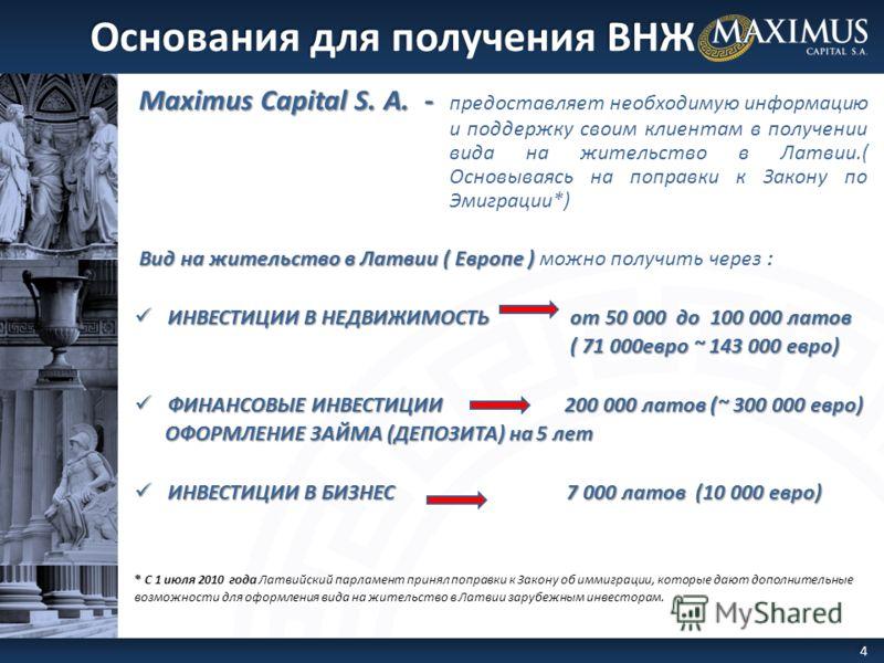 Maximus Capital S. A. - Maximus Capital S. A. - предоставляет необходимую информацию и поддержку своим клиентам в получении вида на жительство в Латвии.( Основываясь на поправки к Закону по Эмиграции*) Вид на жительство в Латвии ( Европе ) Вид на жит