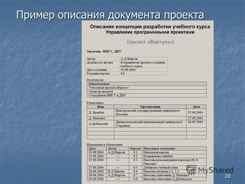 20 Пример описания документа проекта