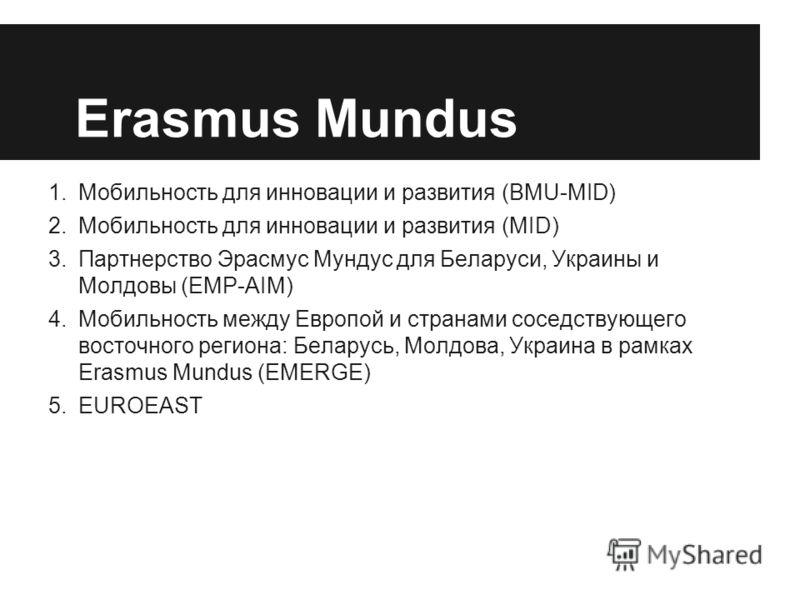 Erasmus Mundus 1.Мобильность для инновации и развития (BMU-MID) 2.Мобильность для инновации и развития (MID) 3.Партнерство Эрасмус Мундус для Беларуси, Украины и Молдовы (EMP-AIM) 4.Мобильность между Европой и странами соседствующего восточного регио