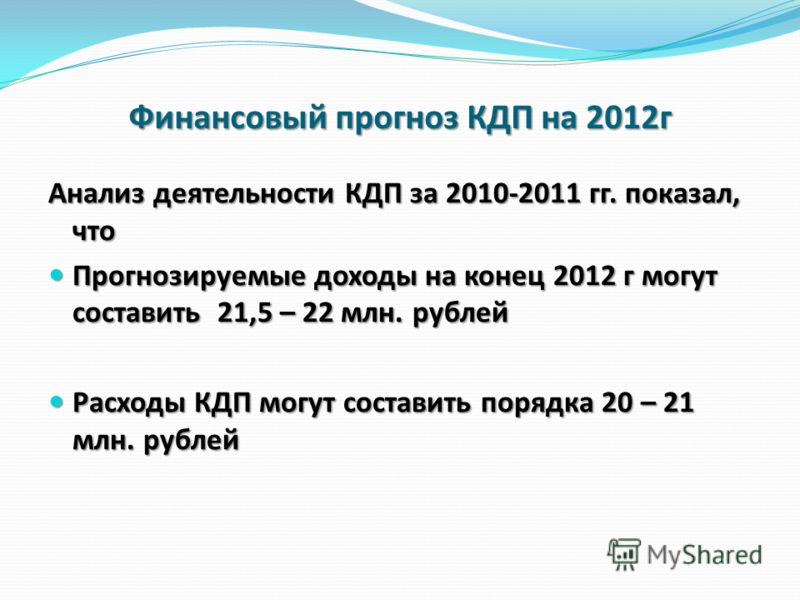 Финансовый прогноз КДП на 2012г Анализ деятельности КДП за 2010-2011 гг. показал, что Прогнозируемые доходы на конец 2012 г могут составить 21,5 – 22 млн. рублей Прогнозируемые доходы на конец 2012 г могут составить 21,5 – 22 млн. рублей Расходы КДП