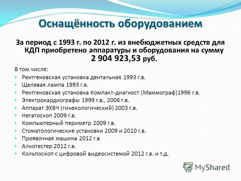 Оснащённость оборудованием За период с 1993 г. по 2012 г. из внебюджетных средств для КДП приобретено аппаратуры и оборудования на сумму 2 904 923,53 руб. В том числе: Рентгеновская установка дентальная 1993 г.в. Щелевая лампа 1993 г.в. Рентгеновская
