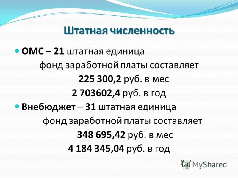 Штатная численность ОМС – 21 штатная единица фонд заработной платы составляет 225 300,2 руб. в мес 2 703602,4 руб. в год Внебюджет – 31 штатная единица фонд заработной платы составляет 348 695,42 руб. в мес 4 184 345,04 руб. в год