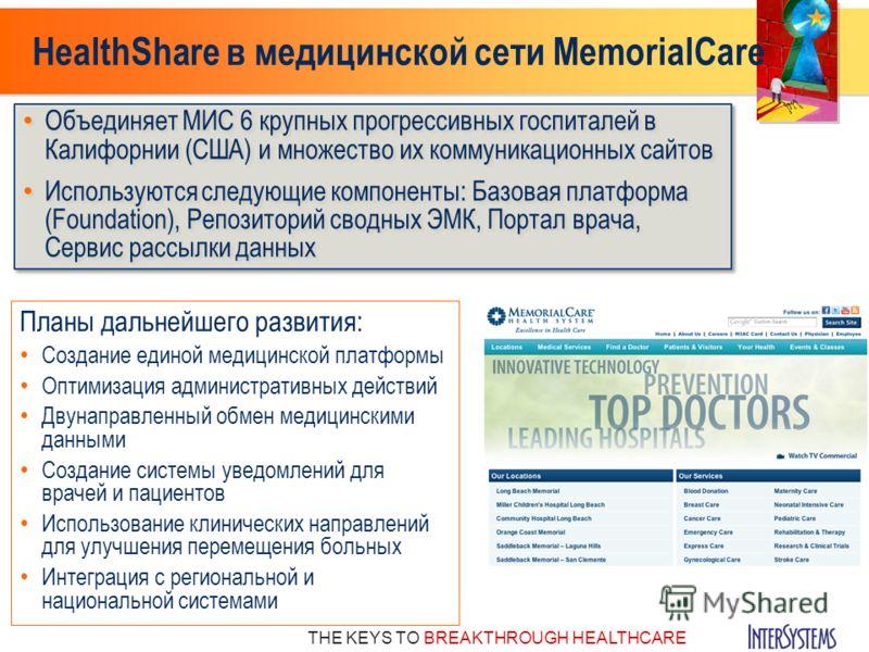 THE KEYS TO BREAKTHROUGH HEALTHCARE HealthShare в медицинской сети MemorialCare Объединяет МИС 6 крупных прогрессивных госпиталей в Калифорнии (США) и множество их коммуникационных сайтов Используются следующие компоненты: Базовая платформа (Foundati