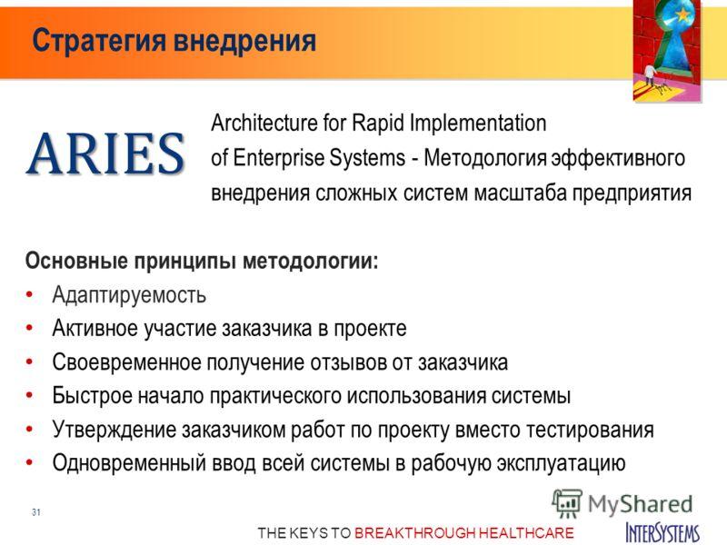 THE KEYS TO BREAKTHROUGH HEALTHCARE Стратегия внедрения 31 Architecture for Rapid Implementation of Enterprise Systems - Методология эффективного внедрения сложных систем масштаба предприятияARIES Основные принципы методологии: Адаптируемость Активно