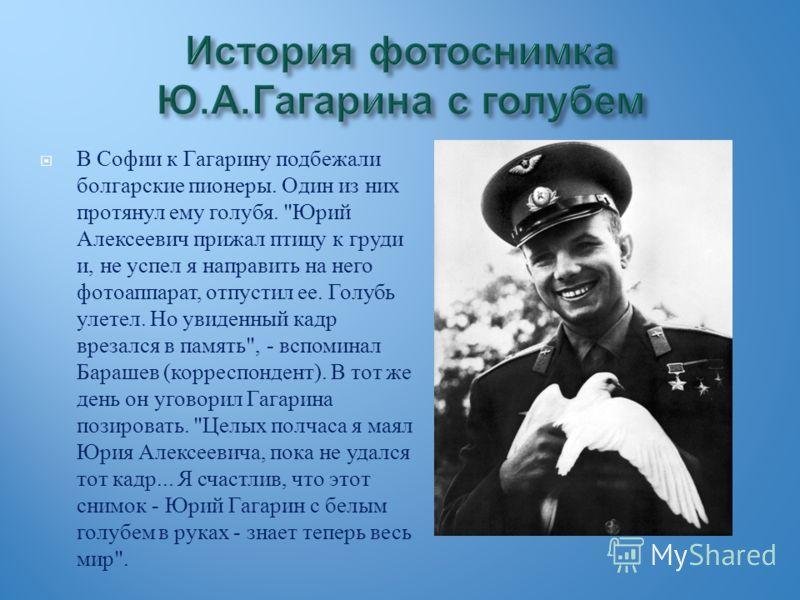 В Софии к Гагарину подбежали болгарские пионеры. Один из них протянул ему голубя.