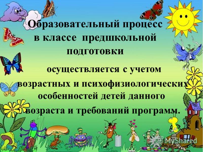 Образовательный процесс в классе предшкольной подготовки осуществляется с учетом возрастных и психофизиологических особенностей детей данного возраста и требований программ.