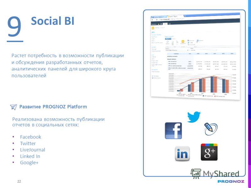 22 Social BI 9 Растет потребность в возможности публикации и обсуждения разработанных отчетов, аналитических панелей для широкого круга пользователей Развитие PROGNOZ Platform Реализована возможность публикации отчетов в социальных сетях: Facebook Tw