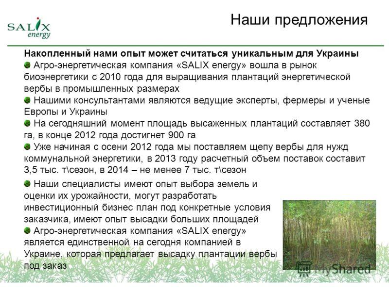 Накопленный нами опыт может считаться уникальным для Украины Агро-энергетическая компания «SALIX energy» вошла в рынок биоэнергетики с 2010 года для выращивания плантаций энергетической вербы в промышленных размерах Нашими консультантами являются вед