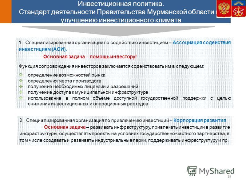 Инвестиционная политика. Стандарт деятельности Правительства Мурманской области по улучшению инвестиционного климата 1. Специализированная организация по содействию инвестициям – Ассоциация содействия инвестициям (АСИ). Основная задача - помощь инвес