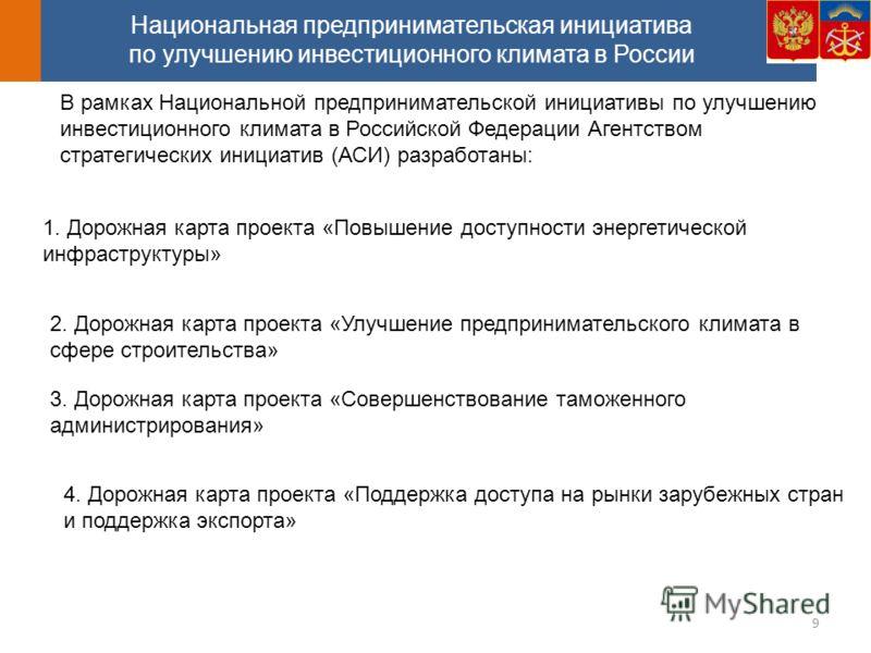 Национальная предпринимательская инициатива по улучшению инвестиционного климата в России 1. Дорожная карта проекта «Повышение доступности энергетической инфраструктуры» В рамках Национальной предпринимательской инициативы по улучшению инвестиционног