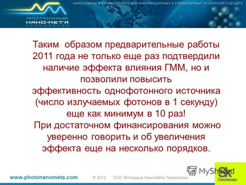 www.photonanometa.com © 2012 OOO Фотонные Нано-Мета Технологии Таким образом предварительные работы 2011 года не только еще раз подтвердили наличие эффекта влияния ГММ, но и позволили повысить эффективность однофотонного источника (число излучаемых ф